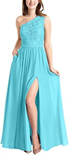 ANGELWARDROBE One Shoulder Lace Bridesmaid Dresses Long for Women Side Slit Evening Prom Gowns