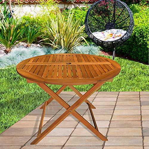 Aktive 61029 - Mesa redonda plegable madera de acacia Garden 100 x 74 cm