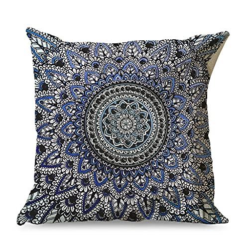 CCMugshop Funda de cojín de algodón y lino vintage con diseño de flores, para cama, color blanco, 45 x 45 cm