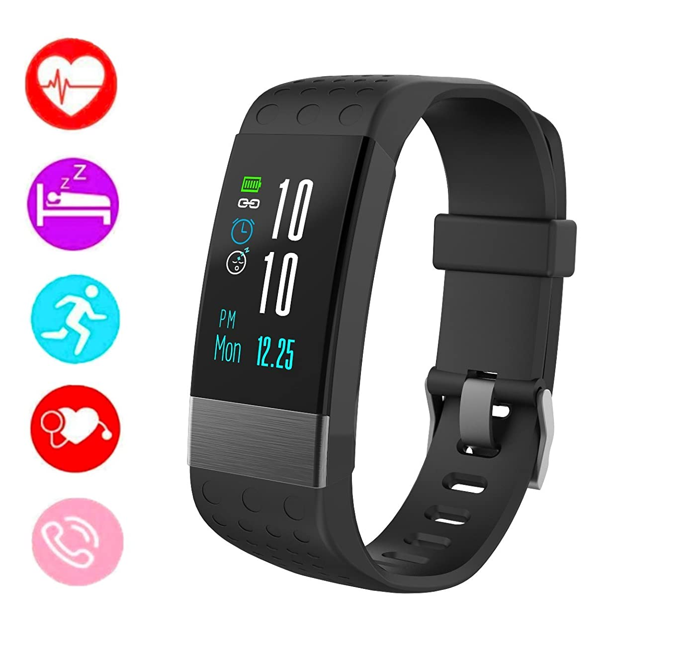 Fitness Tracker Smart Watch Heart Rate Monitor I7 Activity Trackers Bluetooth with Blood Pressure Monitor Smart Watches Compatible with iOS Samsung Android Phones (Black)