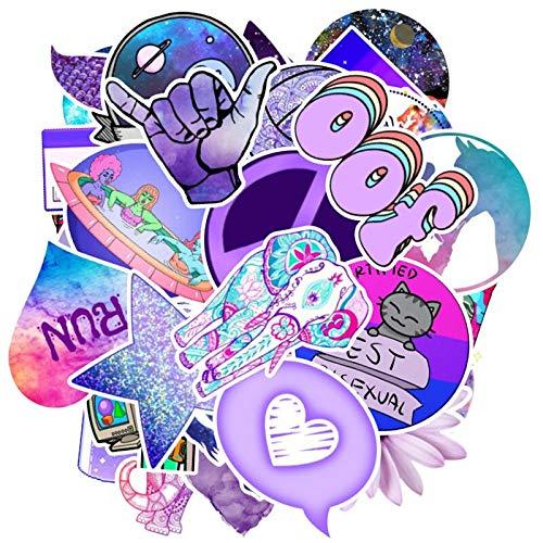 BLOUR 50 Piezas 2020, Paquete de Pegatinas adorables a la Moda para Ordenador portátil, Guitarra, Equipaje, monopatín, Coche, Juguete, Pegatina, Pegatinas púrpuras