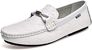 HaiNing Zheng Driving Loafer for Men Boat Moccasins Slip On Style OX Leather Metaldecor Classic Solid Color Low Top (Color : White, Size : 6 UK)