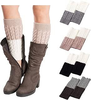 Faybox Boot Cuffs for Women Short Crochet Knitted Leg Warmers warm boot socks 1 to 8 Pairs