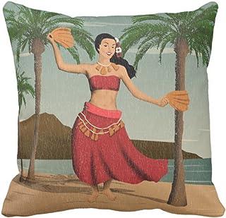 dingjiakemao Throw Pillow Cover Hawaii Hawaiian Vintage Hula Girl Palm Decorative Pillow Case Home Decor Square 18 X 18 Inches/45 X 45CM Pillowcase