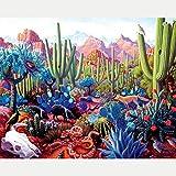 Diy Full Area Square 5D Diamond Painting Desert Cactus Animal,Handmade Paste Painting Resin Kit Home Decor Wall Decoration (19.7X25.6Inch)(Frameless)