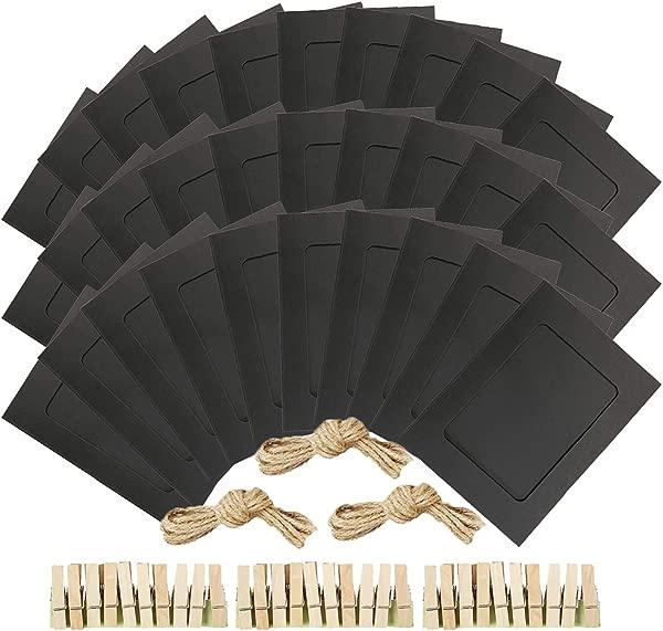 NOBBEE 纸相框牛皮纸相框 30 月个月只 DIY 纸板相框木剪辑和麻绳黄麻黑