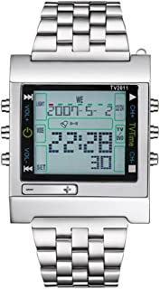 Hombre Reloj Deportivo Digital mando a distancia Acero Inoxidable Banda Reloj de pulsera plata