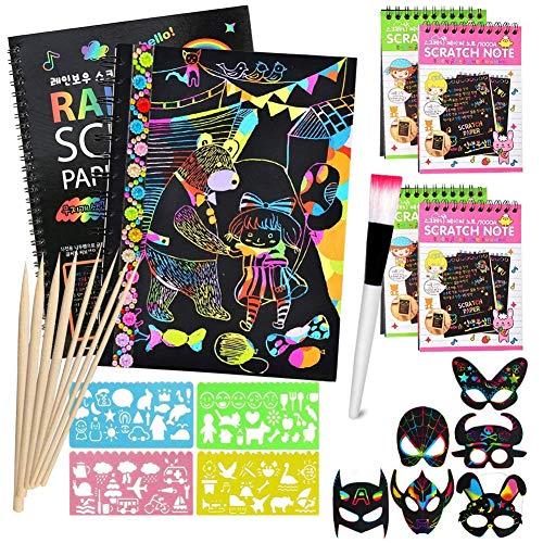 Scratch Art Paper para Niños - Scratch Art Paper Notebook Hojas Dibujo Scratch Láminas para Rascar Creativas Papel para Dibujar Juego Manualidades Plantillas Dibujar Niños Regalo Creativo Conj