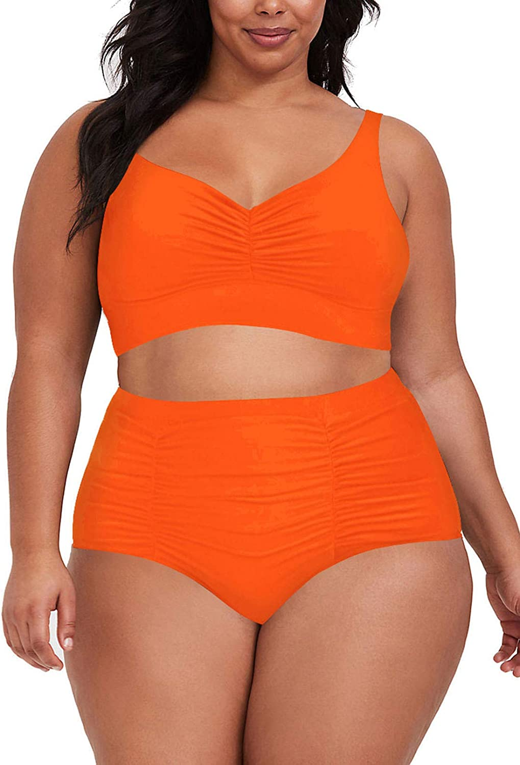 Sovoyontee Women's 2 Piece Plus Size High Waisted Swimsuit Ruched Bikini Set Bathing Suit
