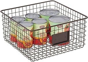 mDesign panier en métal – panier en métal polyvalent – panier de rangement avec zone d'inscription pour cuisine, garde-man...