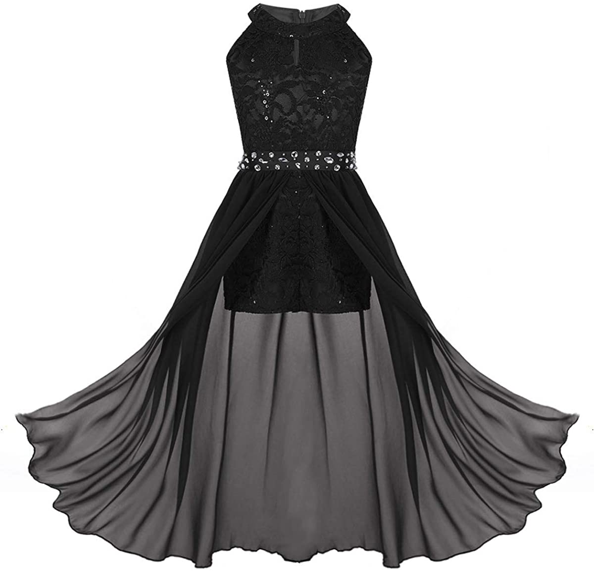 moily Kids Girls High Turtleneck Floral Lace Rhinestone Long Romper Dress Formal Ball Gown Dancewear