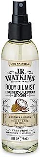 JR Watkins Natural Hydrating Body Oil Mist, Coconut Milk & Honey, Moisturizing Body Oil Spray for Glowing Skin, USA Made a...