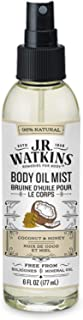 JR Watkins Natural Hydrating Body Oil Mist, Coconut Milk & Honey, Moisturizing Body..