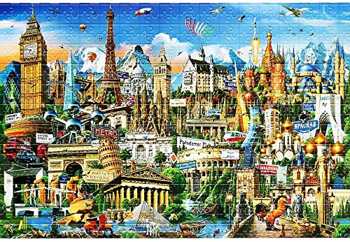 LYBSSG 1000 Piece World Landmarks wooden Jigsaw Puzzle for Kids Adult,Illustrated Art with Scene from World Famous Landmark