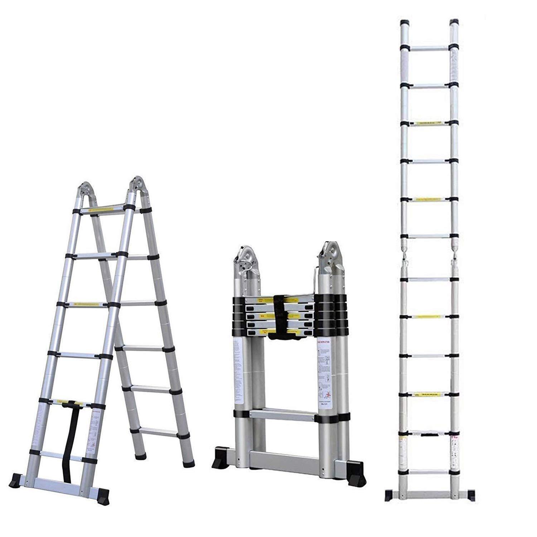 Escalera telescópica multiusos de aluminio, 3,8 m, plegable, con marco A, extensible, 12 peldaños: Amazon.es: Bricolaje y herramientas
