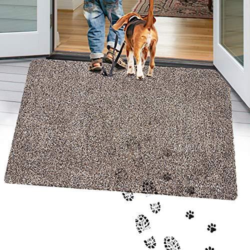 """TTN Home Microfiber Indoor Door Mats for Home Entrance 24"""" x 36"""" - Anti-Slip Entryway Rugs Indoor Mud Mat - Machine Washable Welcome Mats for Front Door Dog Rug (Dark Brown)"""