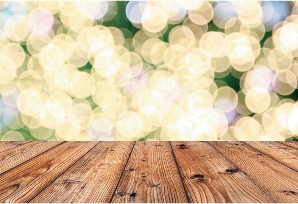 AOFOTO 8x6ft Bling Bling Photo Backdrops Golden Spots Shining Sparkle Wooden Floor Wood Panel Photography Background Fantasy Bubble Baby Shower Newborn Children Portrait Photo Studio Props