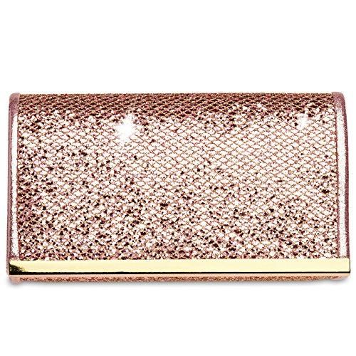 Caspar TA344 kleine elegante Damen Glitzer Clutch Tasche Abendtasche, Größe:One Size, Farbe:rosa