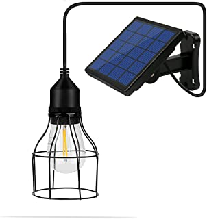 NING ZE XIN Vintage Hanging Metal Cage Outdoor Solar Powered Pendant Light E27 Industrial Edison Bulb 10Ft Cord Shed Light Black Mini Pendant Lamp With Changeable Solar Panel forGarden Yard Patio Home