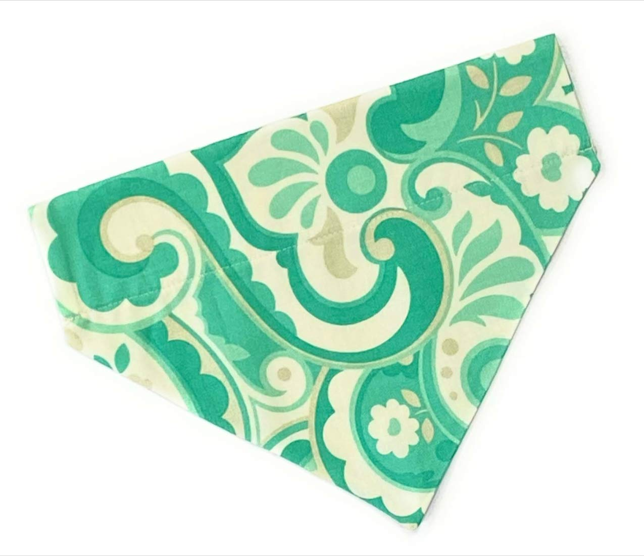 Dog Bandana Same day shipping Green Design no tie over Medium Ha collar Size List price slip