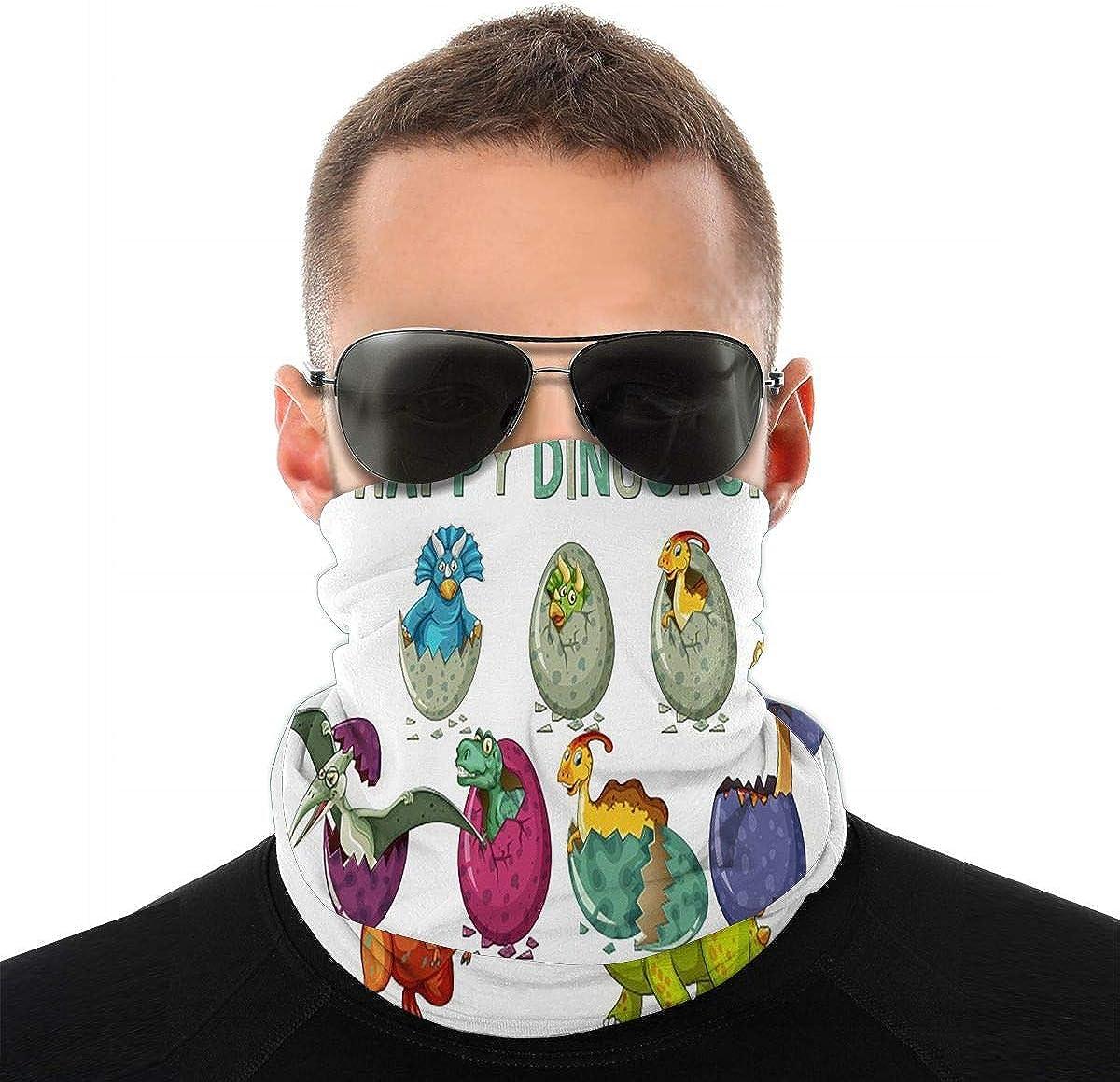 KiuLoam Happy Dinosaur Seamless Face Mask Bandanas Neck Gaiter for Men and Women, Multifunction Headband Scarf for Dust, Outdoors, Sports