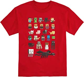 Minecraft Digitized Pickaxe Red T-Shirt Large