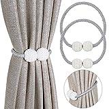 Pinowu - Fermatende magnetici per tenda, con perle decorative, per tende piccole, sottili o trasparenti, 2 pezzi Fermatenda: grigio.