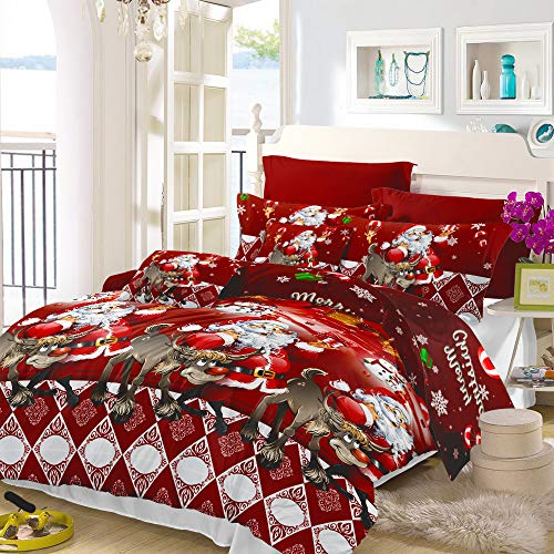 Christmas Bedding Set Queen Size Reversible Santa Claus Duvet Cover with Reindeer/Tree/Bell Pattern Lightweight Xmas Quilts Cover Decor Christmas Holiday Bedroom-(1 Duvet Cover, 2 Pillowcase)