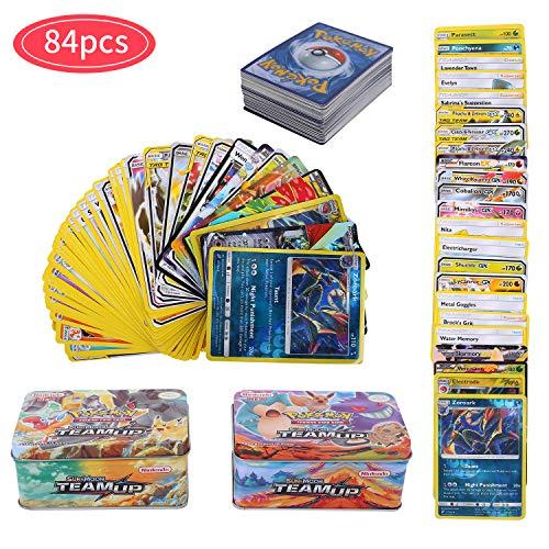 YNK 84 Pezzi Pokemon Carte Sun & Moon, Teamup, Pokemon Flash Carte, Carta Collezionabile, GX Ex Gioco di Carte (Stile Casuale)
