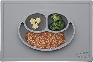 ezpz Happy Mat (Gray) - 100% Silicone Suction Plate with Built-in Placemat for Toddlers + Preschoolers - Divided Plate - D...