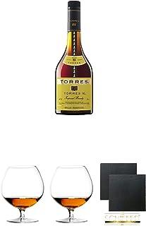 Torres 10 Jahre Brandy 0,7 Liter  Cognacglas/Schwenker Stölzle 2 Stück  Schiefer Glasuntersetzer2 Stück