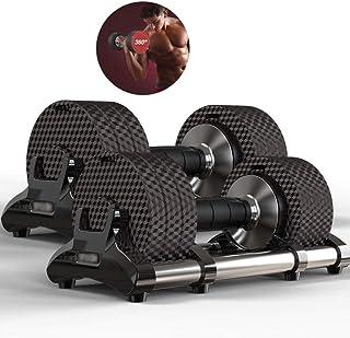 ダンベル ダンベル 可変式ダンベルセット 調節可能なダンベル 腕トレーニングダンベル 家庭用フィットネス機器 屋内減量機器 (Color : Black, Size : 32*15*14cm)