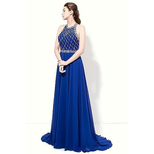d03edd890b07 SeasonMall Women's Prom Dresses A Line Halter Open Back Chiffon & Tulle  Dresses Size 2 Dark