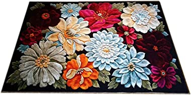 Modern Style Non Skid Bath Rug Entry Rugs 3D Colorful Floral Print Cutable Indoor Area Rug