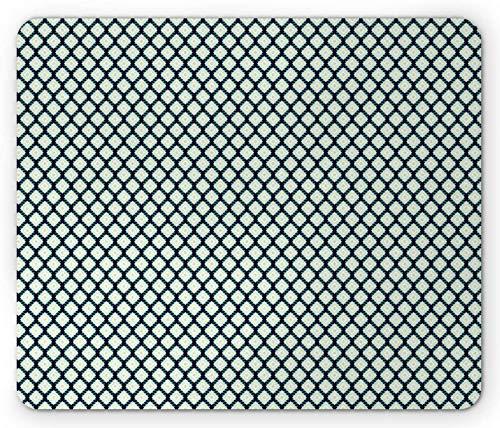 Alfombrilla de ratón étnica, Formas geométricas Tribales Modernas geométricas Tribales Boho Rombos Hippies enrrollados, Alfombrilla de Goma de Goma Antideslizante rectángulo añil Oscuro pálido - 8.6X