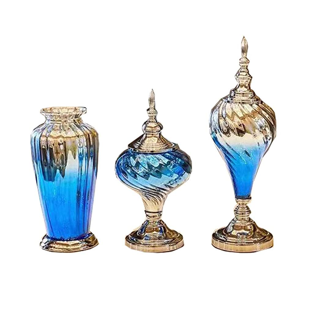 小道穀物端末ZMUJ 3のガラスのフラワーベースを設定し、ホームインテリアリビングルームセンターピースとイベントのための特別なデザインスタイルセンターデコレーション装飾的な現代の花の花瓶