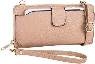 Womens Wristlet Wallet Crossbody Bag Cellphone Purse Handbag Card Slots 2 Strap Wrist, Black, 8.34.31.4