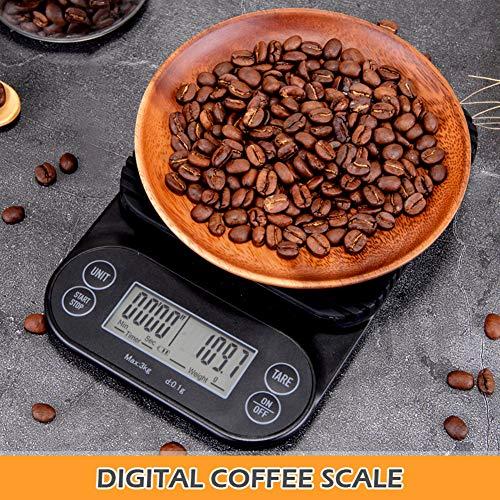 Foto von CestMall Digitale kaffeewaage, elektrische küchenwaage mit Timer-led-anzeige multifunktions-Lebensmittel Kochen pro Waage 3000g genauigkeit 0,1 g / 0,1 unzen / 0,1 ml