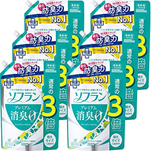 【ケース販売 大容量】ソフラン プレミアム消臭 フレッシュグリーンアロマの香り 柔軟剤 詰め替え 特大1260ml×6個セット