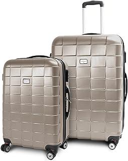 BERWIN Kofferset L  XL 2-teilig Reisekoffer Trolley Hartschalenkoffer ABS Teleskopgriff Modell Squares Champagne