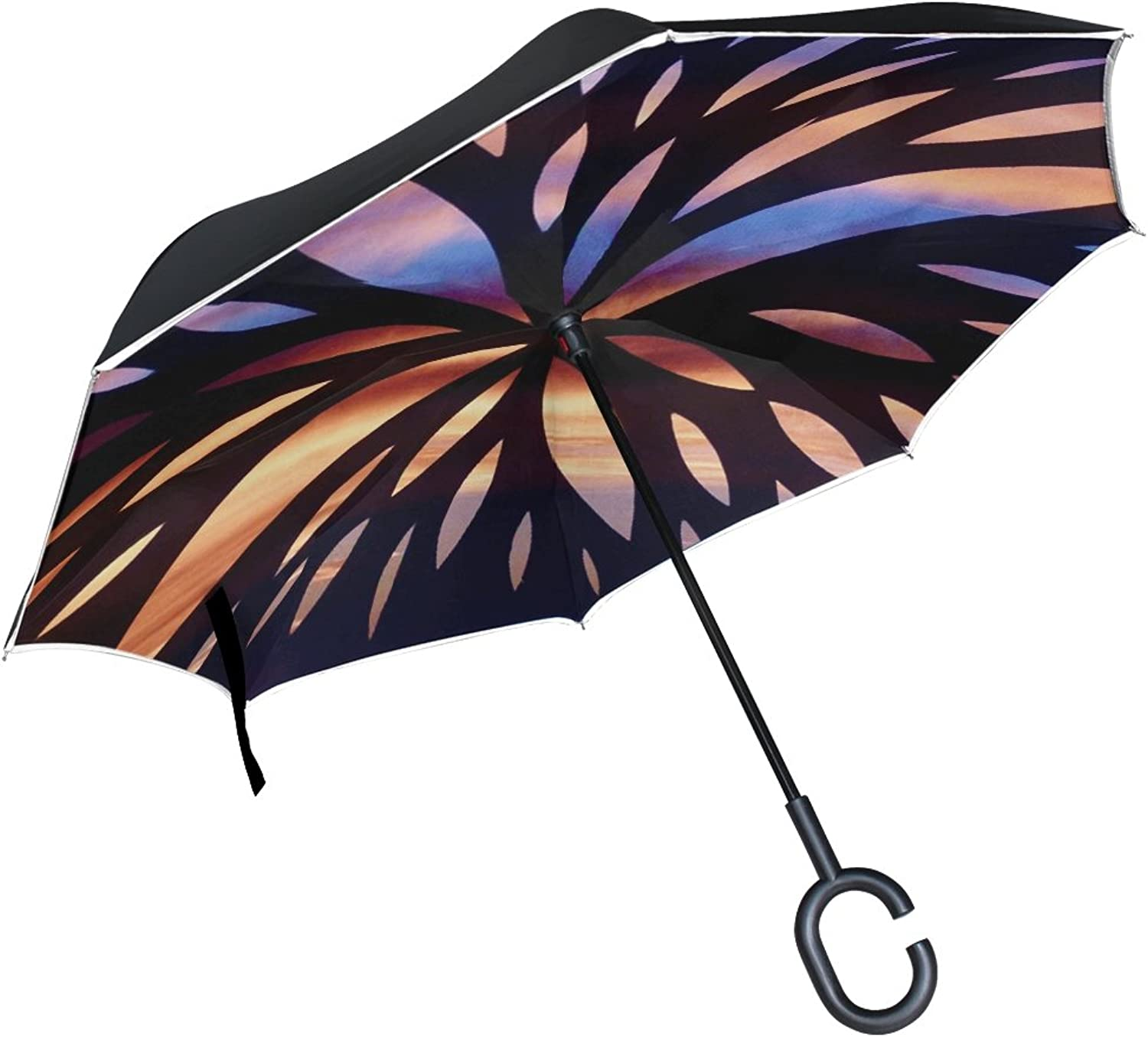 Double Layer Ingreened color Beam Silhouette Art Umbrellas Reverse Folding Umbrella Windproof Uv Predection Big Straight Umbrella for Car Rain Outdoor with CShaped Handle