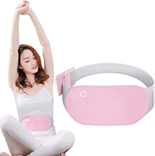 Fahua Portable Electric Heating Pad for Menstrual Cramps and Back Pain Relief with Graphene Heating Therapy, Temperature-Adjustable and Washable Warming Waist Belt(Pink)