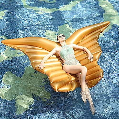 SLCE Luftmatratze Wasser Pool Spielzeug Engelsflügel, 250X180cm, Luftmatratze Wasser Aufblasbare, Kinderreisebett, Aufblasbare Matratze, Schwimmen, Sportspiele, Wasserspielzeug Für Erwachsene,Gold