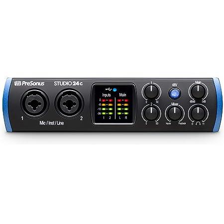 PreSonus Studio 24c 2x2, 192 kHz, interfaz de audio USB-C, 2 salidas de línea Pres-2 de micrófono