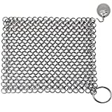 Chainmail Scrubber, Cast Iron Skillet Cleaner, KoHuiJoo 8' x 6' Chainmail Scrubber Stainless Steel Chain Skillet Cleaner for Pre-Seasoned Pan Dutch Ovens Cast Iron Pans Cleaning