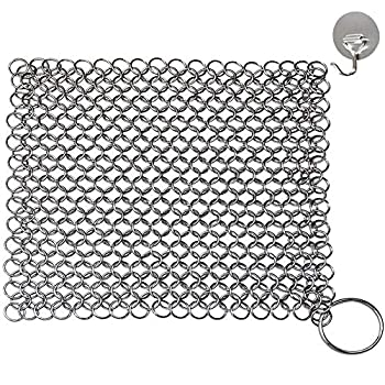 Chainmail Scrubber Cast Iron Skillet Cleaner KoHuiJoo 8  x 6  Chainmail Scrubber Stainless Steel Chain Skillet Cleaner for Pre-Seasoned Pan Dutch Ovens Cast Iron Pans Cleaning