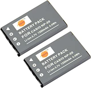 DSTE 2-Pieza Repuesto Batería para Casio NP-20 Exilim EX-M1 EX-M2 EX-M20 EX-M20U EX-S1 EX-Z5 EX-Z6 EX-Z65 EX-Z7 EX-Z8 EX-S100 EX-S100WE EX-S1PM EX-S2 EX-S20 EX-S20U EX-S3 EX-S500 EX-S500EO EX-S500GY EX-S500WE EX-S600 EX-S600BE