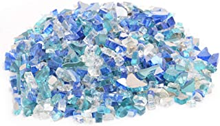 Skyflame 10-Pound Blended Fire Glass for Fire Pit Fireplace Landscaping, 1/4 Inch Caribbean Blue, Platinum, Cobalt Blue, Reflective