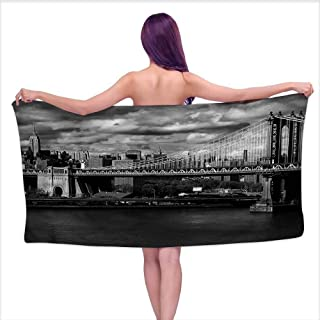 Ediyuneth Printed Bath Towel New York,NYC in Black and White,W28 xL55 for bathrooms, Beaches, Parties