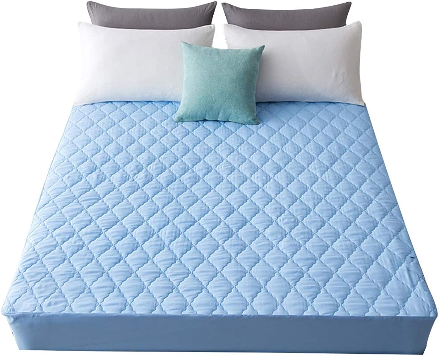 ZHAOHUI Mattress Predector Polyester Waterproof Breathable Non-Slip Noiseless Hypoallergenic Anti-mite Deep Pocket, 4 colors, 3 Sizes (color   bluee-150 x 200cm)